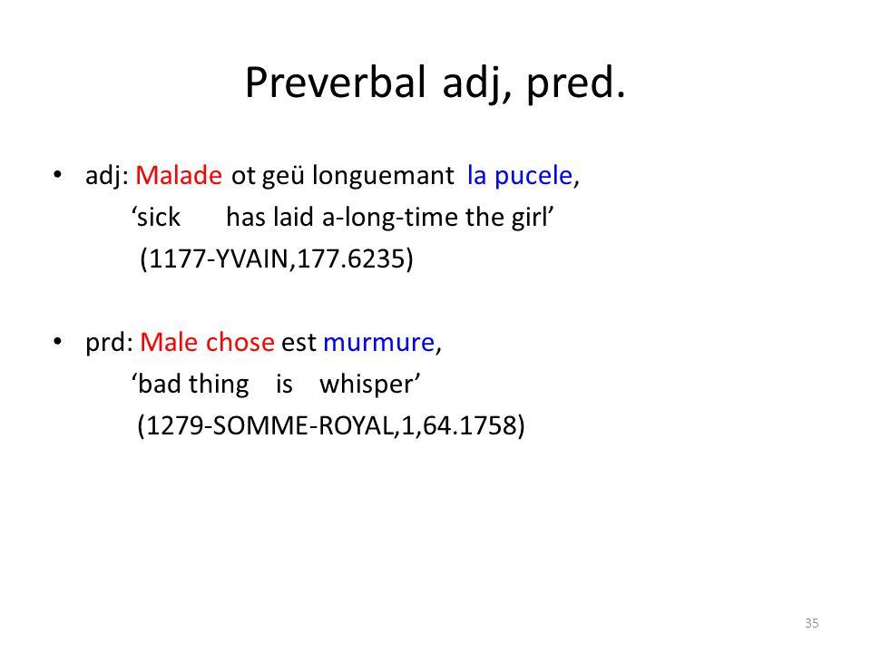 Preverbal adj, pred.