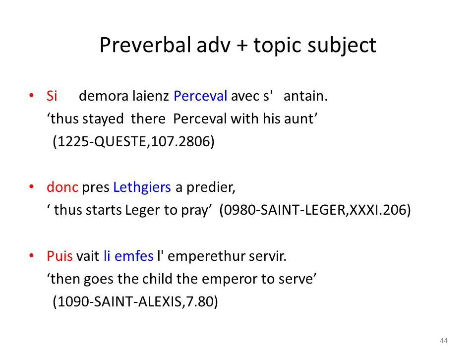 Preverbal adv + topic subject Si demora laienz Perceval avec s antain.