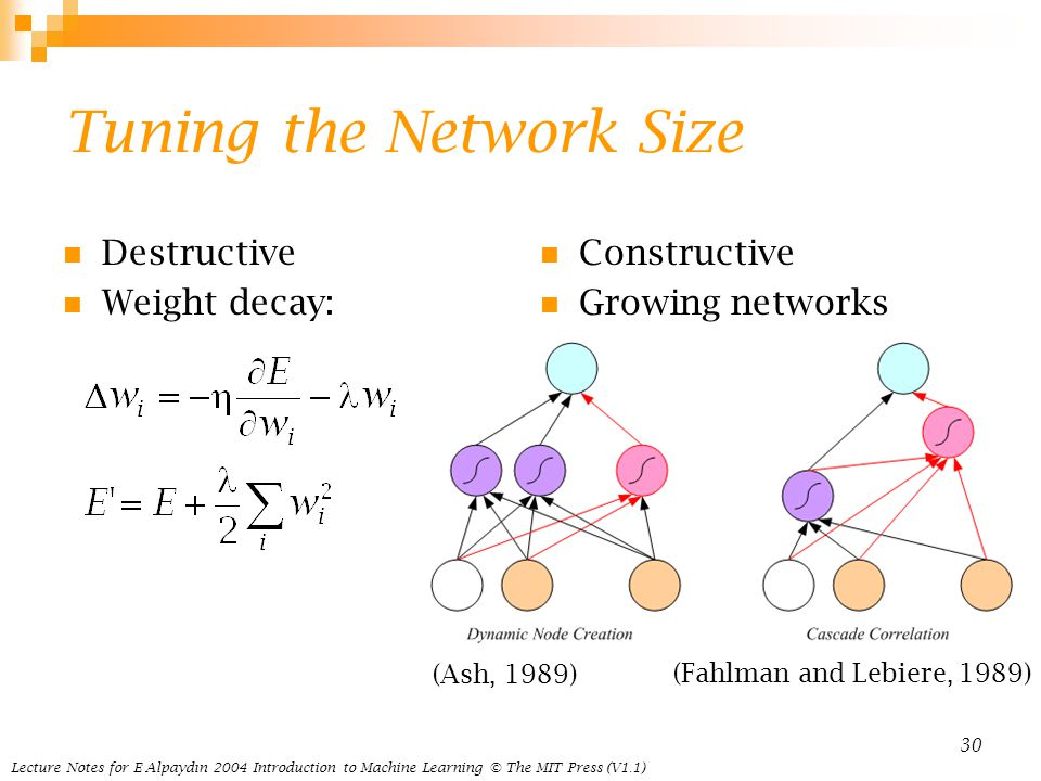 Lecture Notes for E Alpaydın 2004 Introduction to Machine Learning © The MIT Press (V1.1) 30 Tuning the Network Size Destructive Weight decay: Constructive Growing networks (Ash, 1989) (Fahlman and Lebiere, 1989)