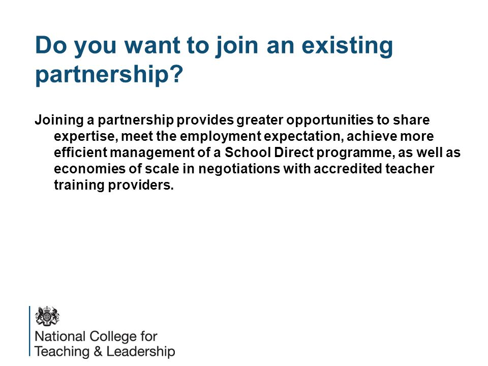 Do you want to join an existing partnership.