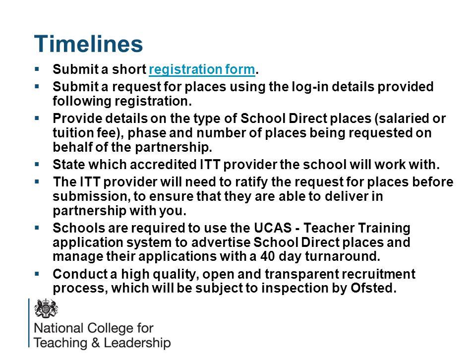 Timelines  Submit a short registration form.registration form  Submit a request for places using the log-in details provided following registration.