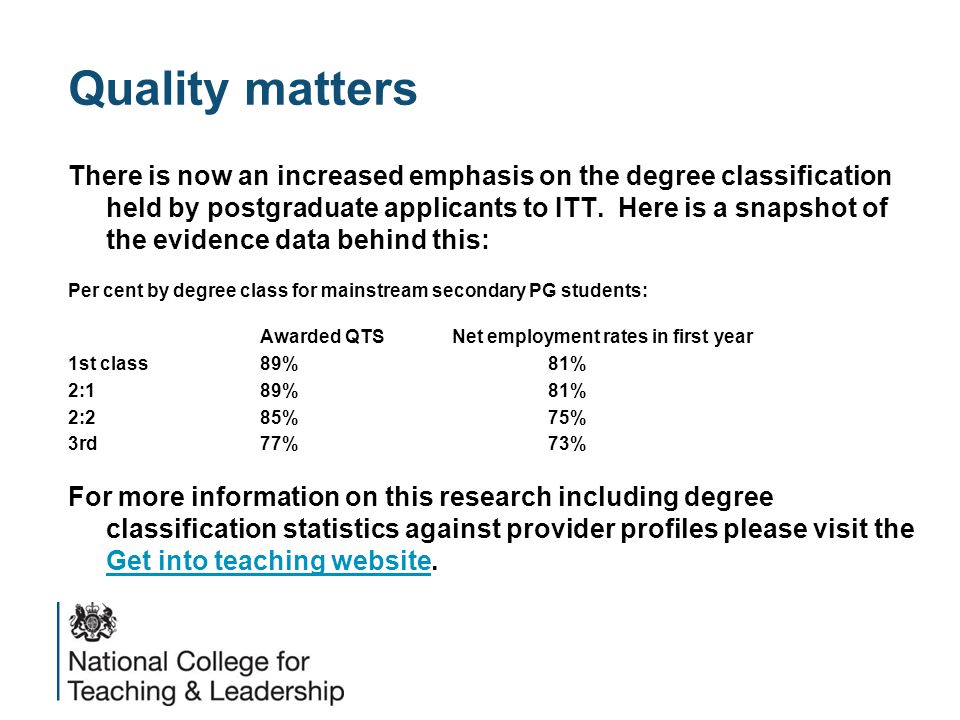Quality matters There is now an increased emphasis on the degree classification held by postgraduate applicants to ITT. Here is a snapshot of the evid