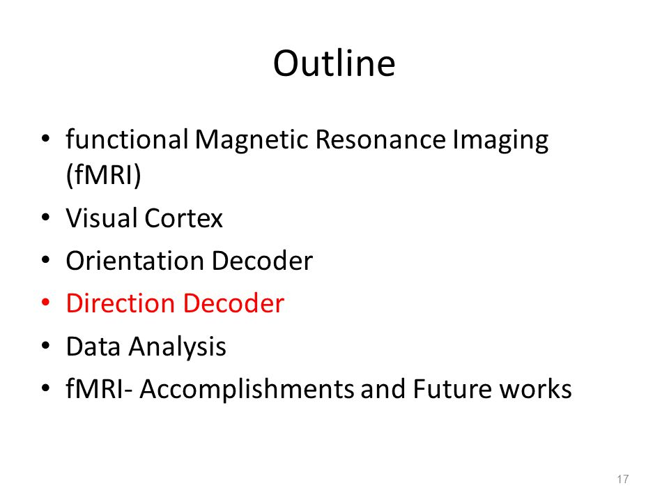 Outline functional Magnetic Resonance Imaging (fMRI) Visual Cortex Orientation Decoder Direction Decoder Data Analysis fMRI- Accomplishments and Futur