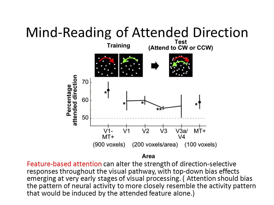 Mind-Reading of Attended Direction Feature-based attention can alter the strength of direction-selective responses throughout the visual pathway, with top-down bias effects emerging at very early stages of visual processing.