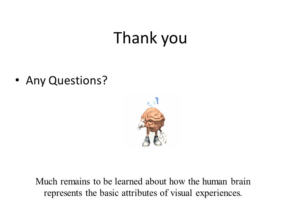 Thank you Much remains to be learned about how the human brain represents the basic attributes of visual experiences. Any Questions?