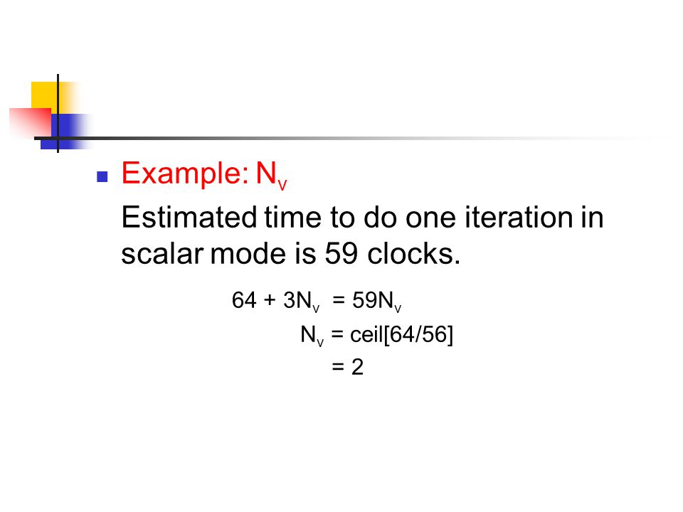 Example: N v Estimated time to do one iteration in scalar mode is 59 clocks.