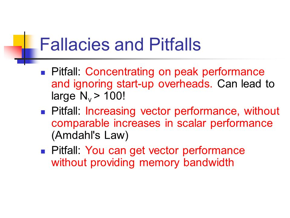 Fallacies and Pitfalls Pitfall: Concentrating on peak performance and ignoring start-up overheads.
