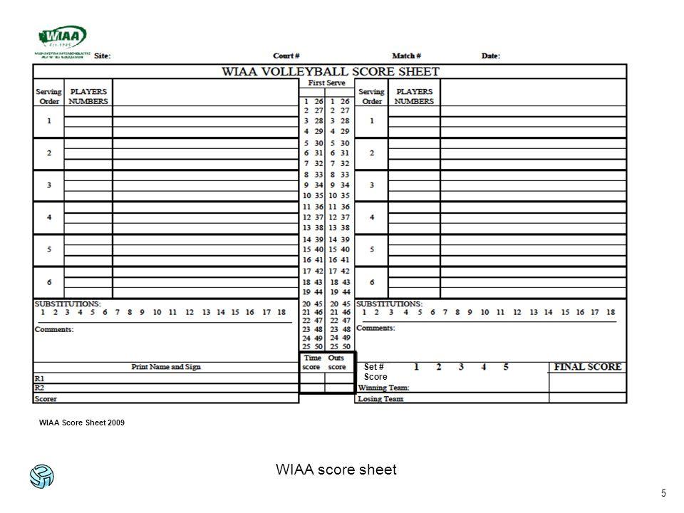 5 WIAA score sheet Set # Score WIAA Score Sheet 2009