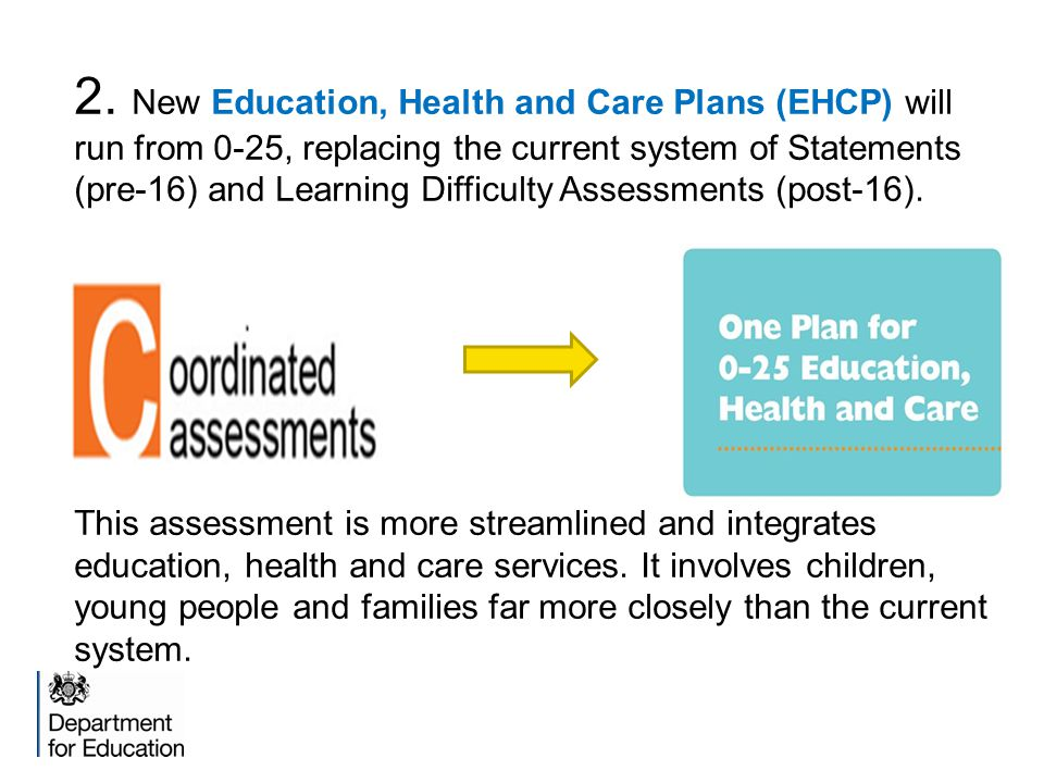 2. New Education, Health and Care Plans (EHCP) will run from 0-25, replacing the current system of Statements (pre-16) and Learning Difficulty Assessm