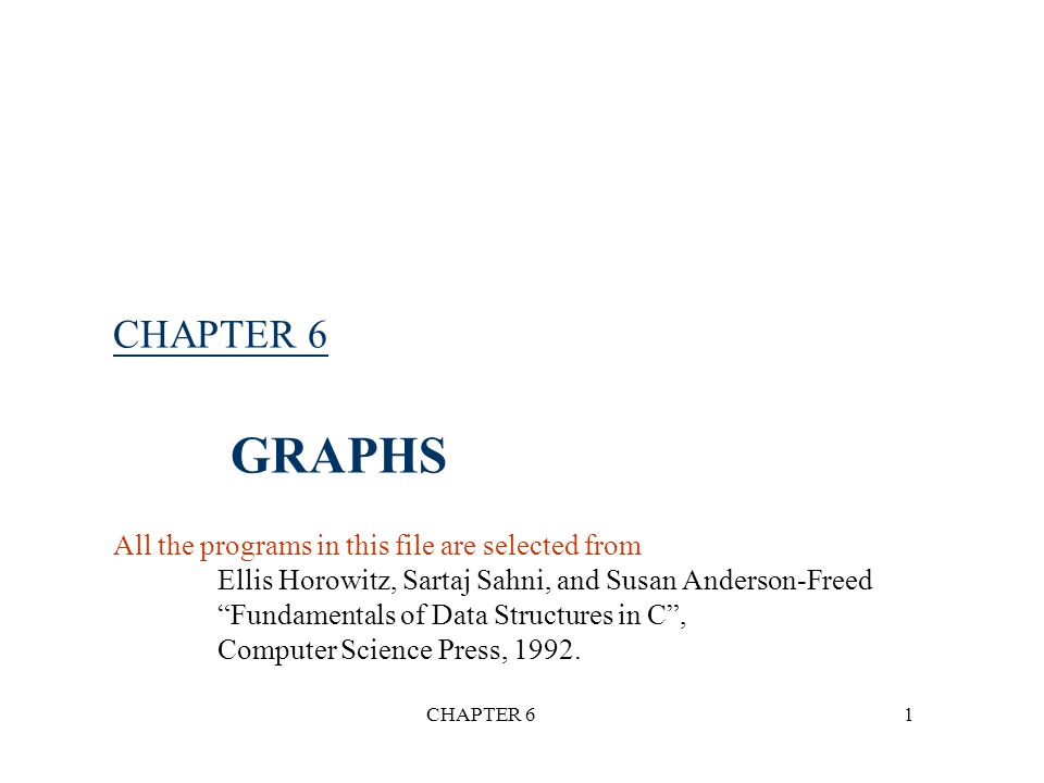 CHAPTER 612 *Figure 6.5: A graph with two connected components (p.262) 1 0 2 3 4 5 6 7 H1H1 H2H2 G 4 (not connected) connected component (maximal connected subgraph)