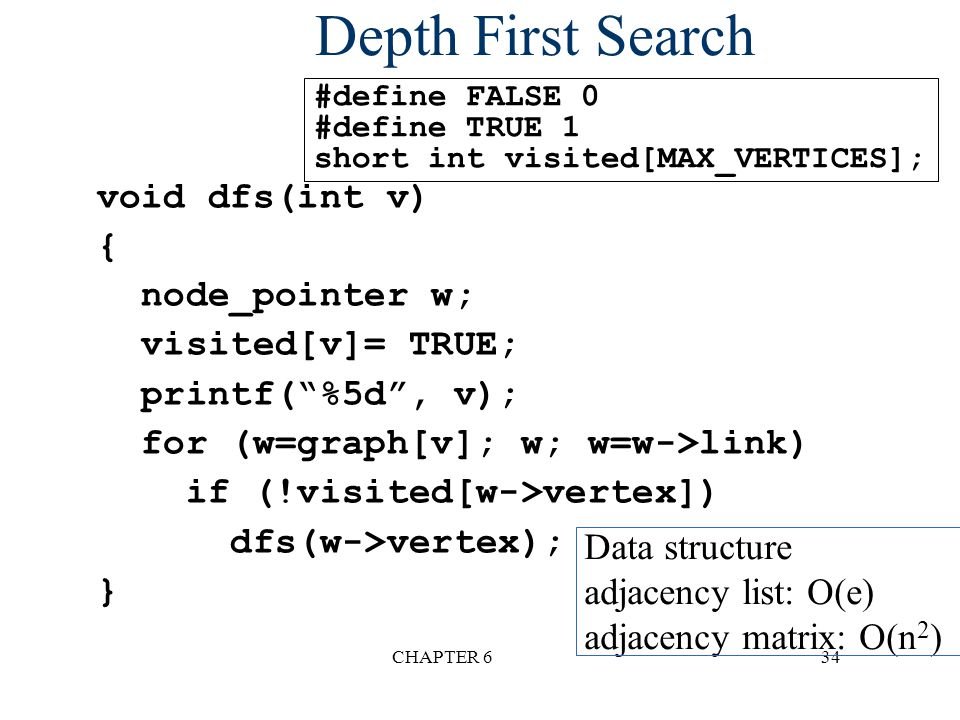 "CHAPTER 634 Depth First Search void dfs(int v) { node_pointer w; visited[v]= TRUE; printf(""%5d"", v); for (w=graph[v]; w; w=w->link) if (!visited[w->ve"