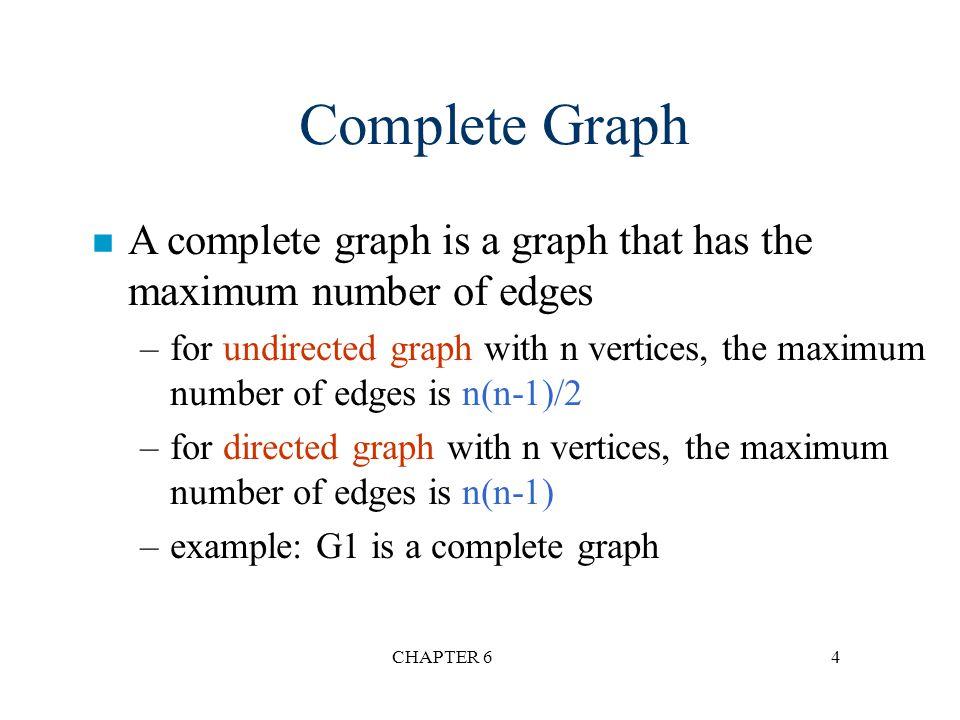 CHAPTER 65 Adjacent and Incident n If (v 0, v 1 ) is an edge in an undirected graph, –v 0 and v 1 are adjacent –The edge (v 0, v 1 ) is incident on vertices v 0 and v 1 n If is an edge in a directed graph –v 0 is adjacent to v 1, and v 1 is adjacent from v 0 –The edge is incident on v 0 and v 1