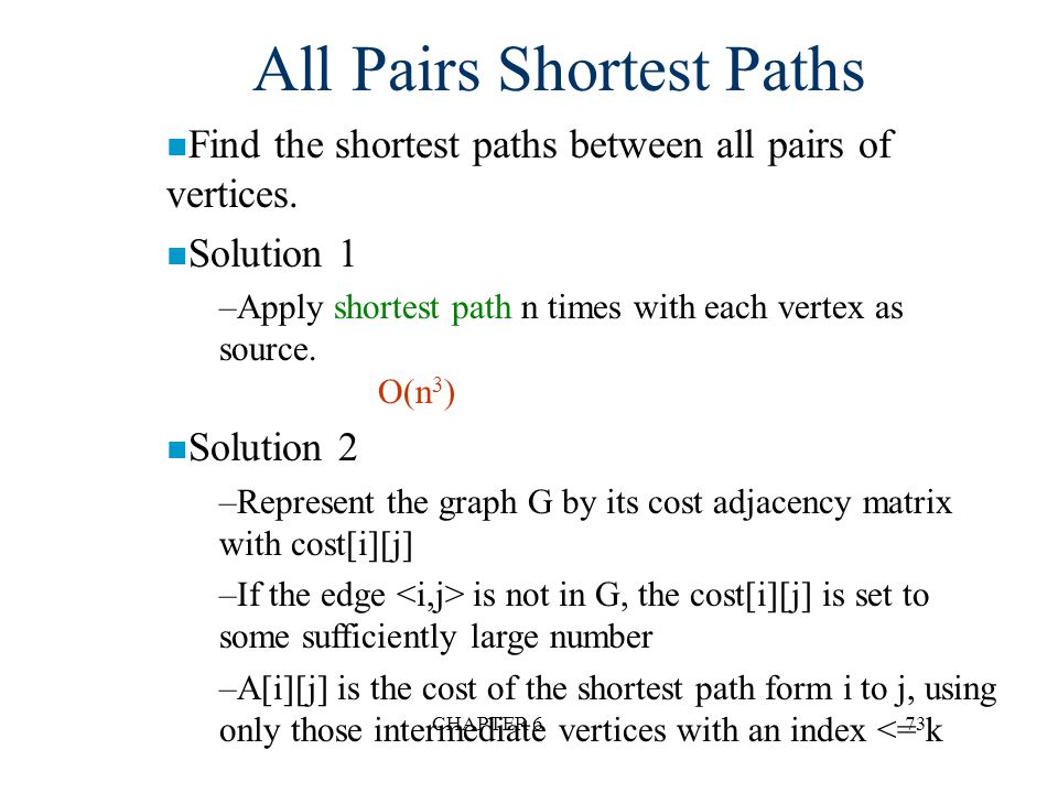 CHAPTER 673 All Pairs Shortest Paths n Find the shortest paths between all pairs of vertices. n Solution 1 –Apply shortest path n times with each vert