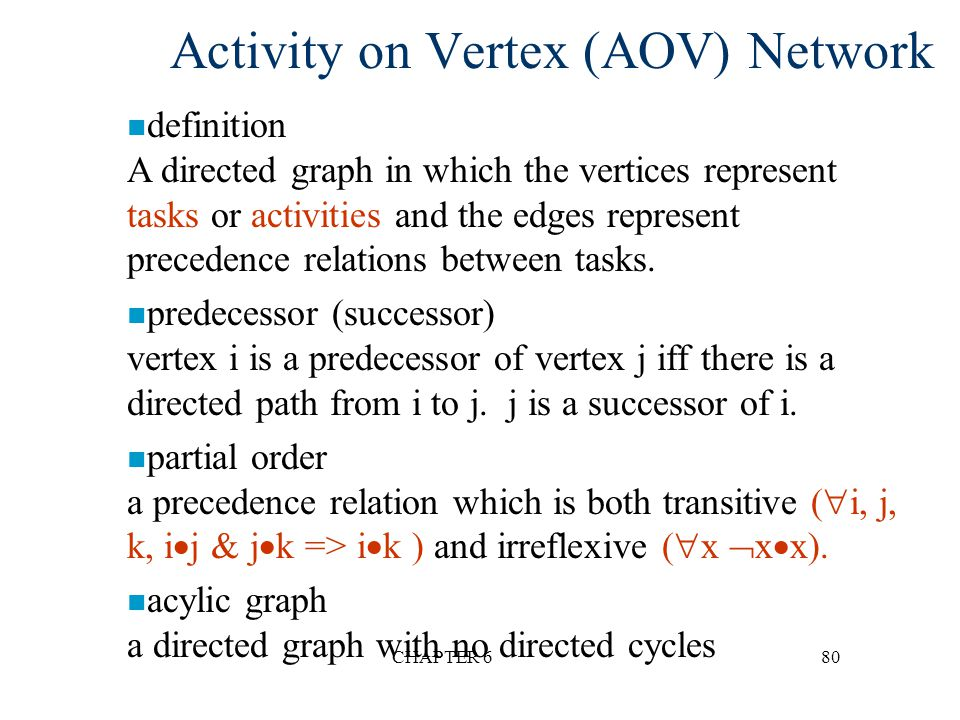 CHAPTER 680 Activity on Vertex (AOV) Network n definition A directed graph in which the vertices represent tasks or activities and the edges represent