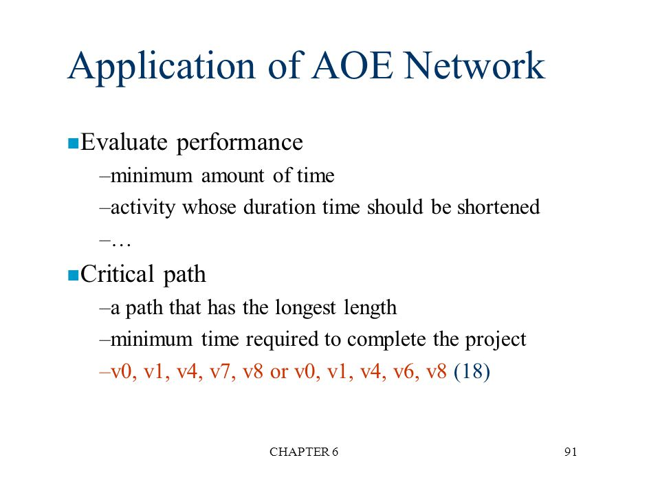 CHAPTER 691 Application of AOE Network n Evaluate performance –minimum amount of time –activity whose duration time should be shortened –… n Critical