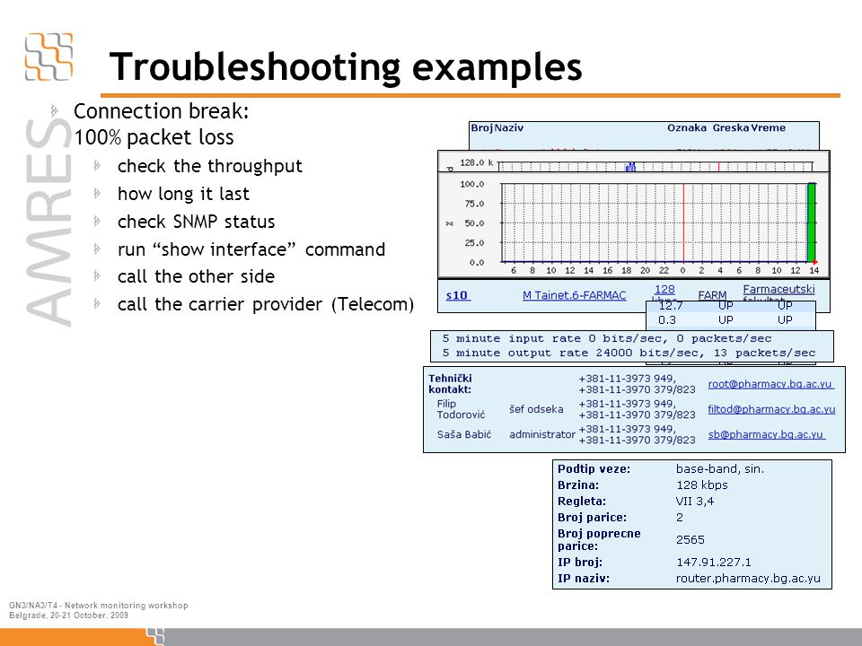 GN3/NA3/T4 - Network monitoring workshop Belgrade, 20-21 October, 2009 Troubleshooting examples Connection break: 100% packet loss check the throughput how long it last check SNMP status run show interface command call the other side call the carrier provider (Telecom)