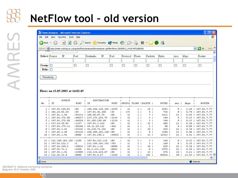 GN3/NA3/T4 - Network monitoring workshop Belgrade, 20-21 October, 2009 NetFlow tool – old version