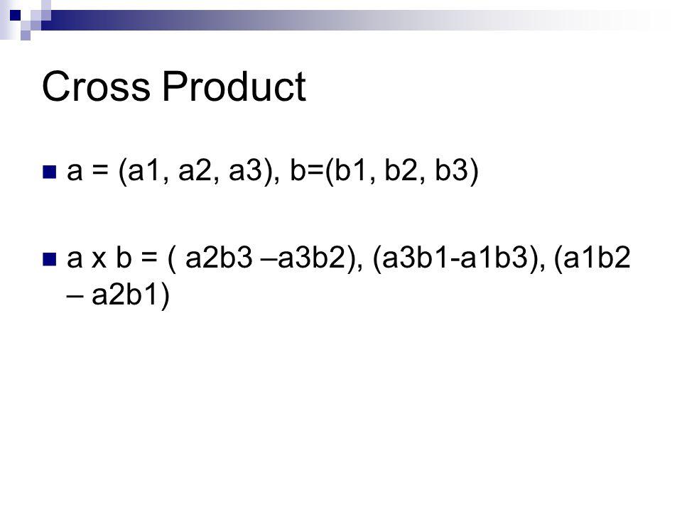 Cross Product a = (a1, a2, a3), b=(b1, b2, b3) a x b = ( a2b3 –a3b2), (a3b1-a1b3), (a1b2 – a2b1)