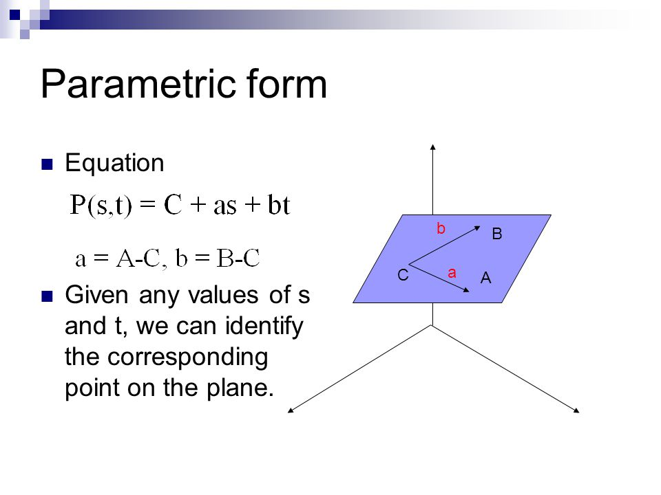 Parametric form Equation Given any values of s and t, we can identify the corresponding point on the plane. C b a B A