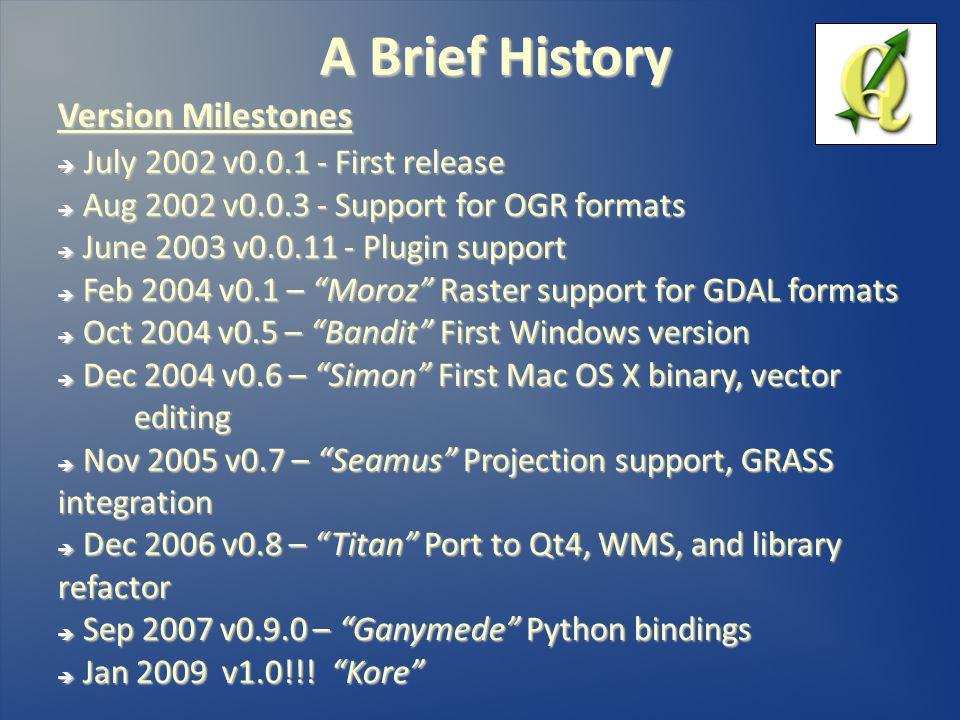A Brief History Version Milestones  July 2002 v0.0.1 - First release  Aug 2002 v0.0.3 - Support for OGR formats  June 2003 v0.0.11 - Plugin support  Feb 2004 v0.1 – Moroz Raster support for GDAL formats  Oct 2004 v0.5 – Bandit First Windows version  Dec 2004 v0.6 – Simon First Mac OS X binary, vector editing  Nov 2005 v0.7 – Seamus Projection support, GRASS integration  Dec 2006 v0.8 – Titan Port to Qt4, WMS, and library refactor  Sep 2007 v0.9.0 – Ganymede Python bindings  Jan 2009 v1.0!!.