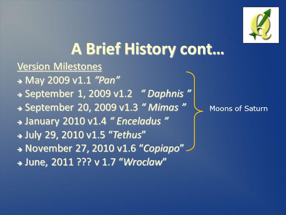 A Brief History cont… Version Milestones  May 2009 v1.1 Pan  September 1, 2009 v1.2 Daphnis  September 20, 2009 v1.3 Mimas  January 2010 v1.4 Enceladus  July 29, 2010 v1.5 Tethus  November 27, 2010 v1.6 Copiapo  June, 2011 .