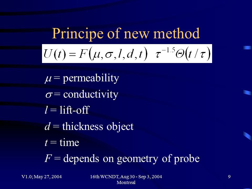 V1.0; May 27, 200416th WCNDT, Aug 30 - Sep 3, 2004 Montreal 10 Principe of new method
