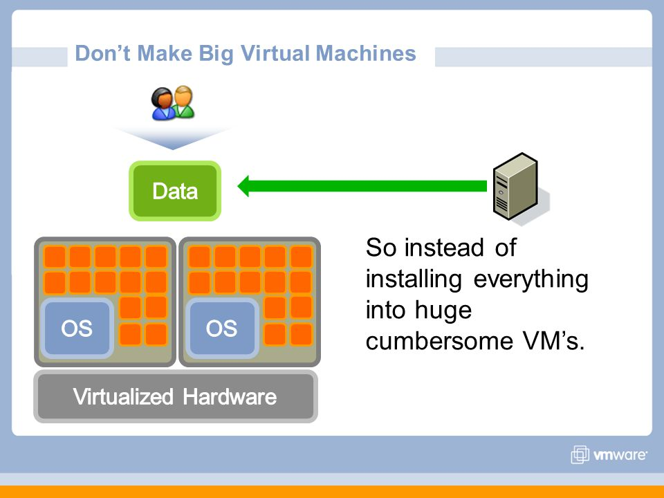Don't Make Big Virtual Machines So instead of installing everything into huge cumbersome VM's.