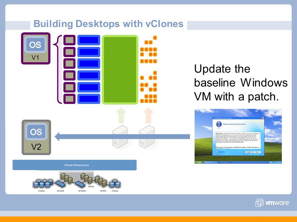 Building Desktops with vClones V2 Update the baseline Windows VM with a patch. V1