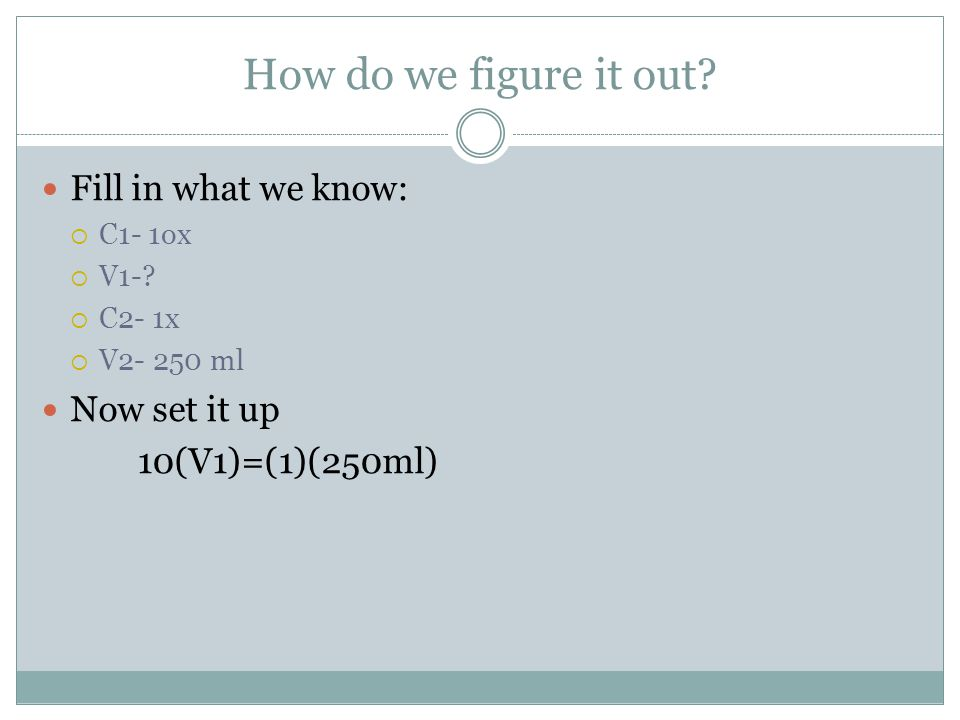 How do we figure it out? Fill in what we know:  C1- 1ox  V1-?  C2- 1x  V2- 250 ml Now set it up 10(V1)=(1)(250ml)