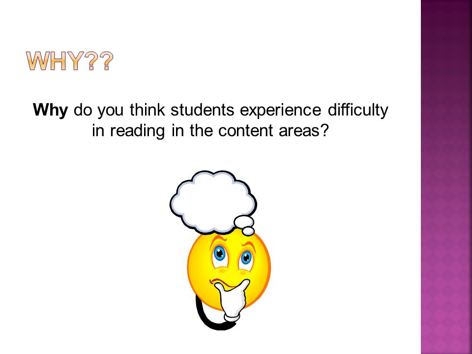 Why do you think students experience difficulty in reading in the content areas