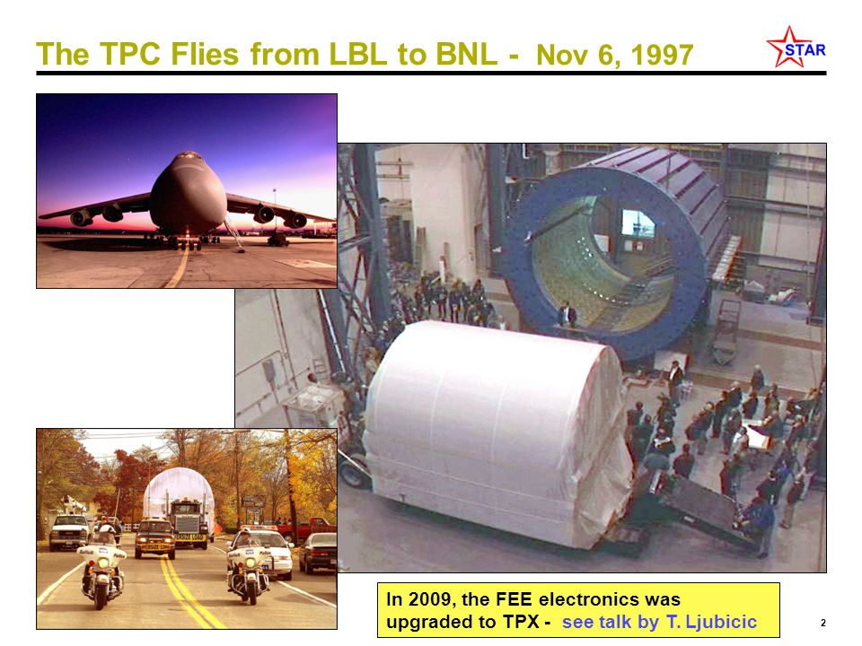 2 Jim Thomas - LBL The TPC Flies from LBL to BNL - Nov 6, 1997 In 2009, the FEE electronics was upgraded to TPX - see talk by T. Ljubicic