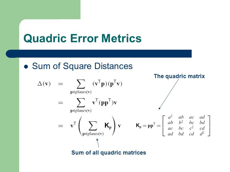 Quadric Error Metrics Sum of Square Distances The quadric matrix Sum of all quadric matrices