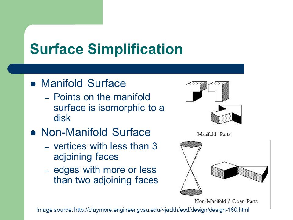Model Boundary Representation Manifold – Half-Edge data structure (directional edge) – Winged-Edge data structure (every edge connects to exactly two faces, one on each side.) Non-Manifold – Radial-Edge data structure (edges can connect to arbitrarily many faces)