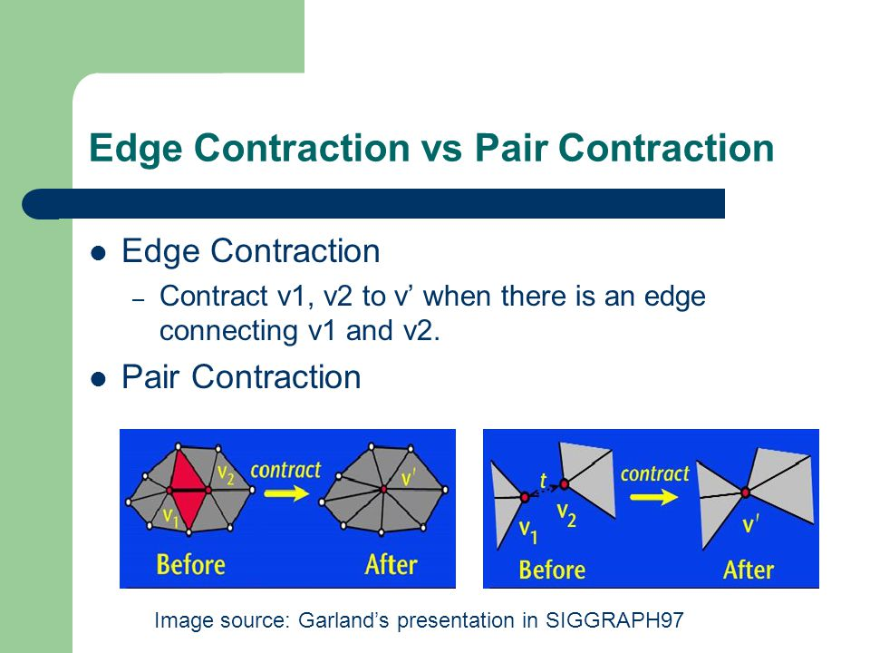 Edge Contraction vs Pair Contraction Edge Contraction – Contract v1, v2 to v' when there is an edge connecting v1 and v2.