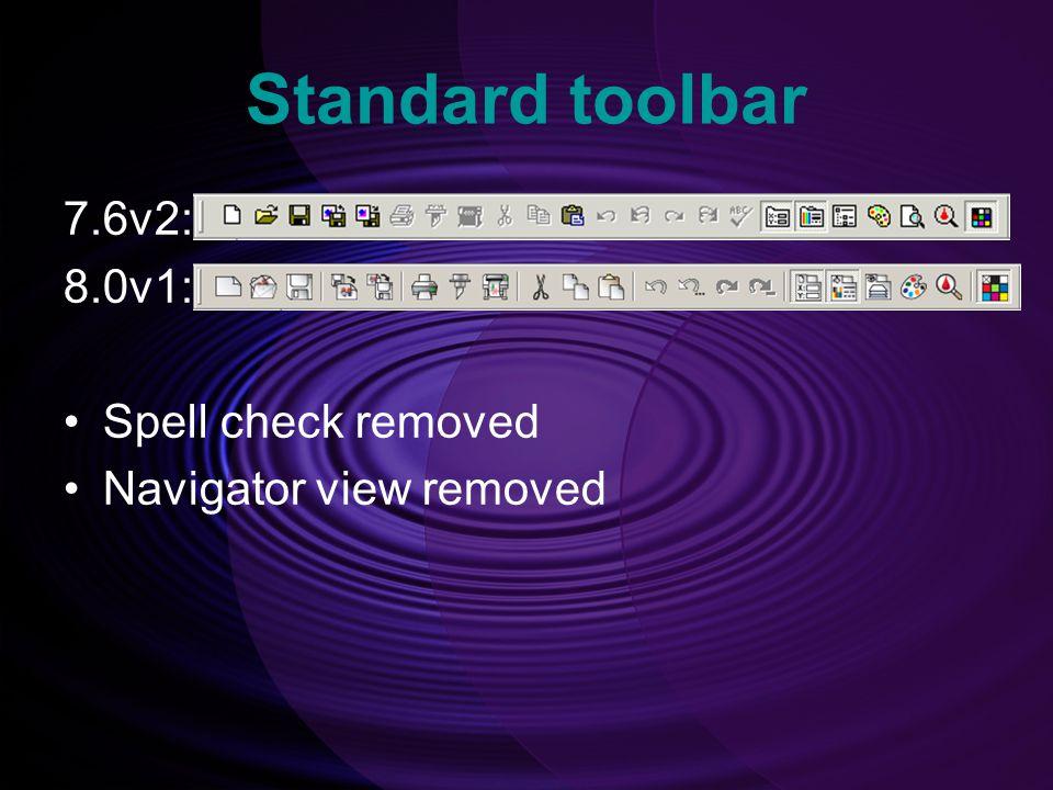 Standard toolbar 7.6v2: 8.0v1: Spell check removed Navigator view removed