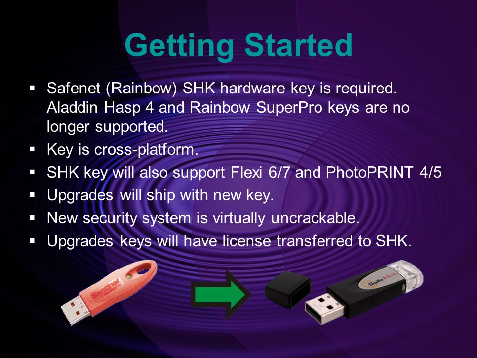 Getting Started  Safenet (Rainbow) SHK hardware key is required.
