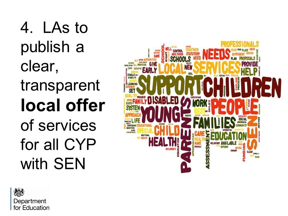 4. LAs to publish a clear, transparent local offer of services for all CYP with SEN