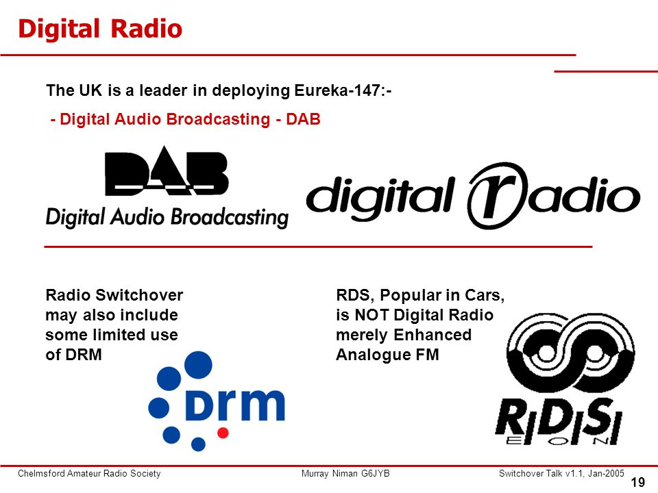 19 Chelmsford Amateur Radio SocietyMurray Niman G6JYBSwitchover Talk v1.1, Jan-2005 Digital Radio The UK is a leader in deploying Eureka-147:- - Digital Audio Broadcasting - DAB Radio Switchover may also include some limited use of DRM RDS, Popular in Cars, is NOT Digital Radio merely Enhanced Analogue FM