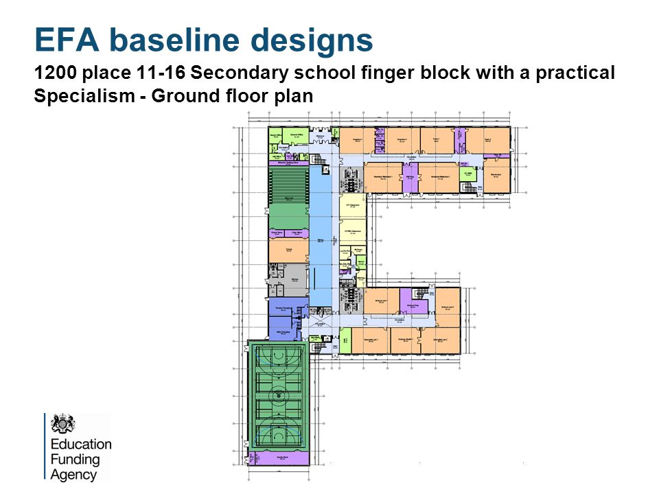 1200 place 11-16 Secondary school finger block with a practical Specialism - Ground floor plan EFA baseline designs