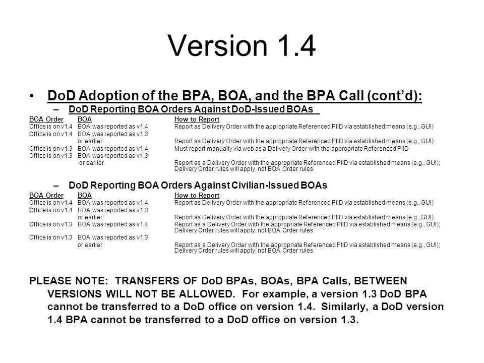 Version 1.4 DoD Adoption of the BPA, BOA, and the BPA Call (cont'd): –DoD Reporting BOA Orders Against DoD-Issued BOAs BOA OrderBOAHow to Report Office is on v1.4BOA was reported as v1.4Report as Delivery Order with the appropriate Referenced PIID via established means (e.g., GUI) Office is on v1.4BOA was reported as v1.3 or earlierReport as Delivery Order with the appropriate Referenced PIID via established means (e.g., GUI) Office is on v1.3BOA was reported as v1.4Must report manually via web as a Delivery Order with the appropriate Referenced PIID Office is on v1.3BOA was reported as v1.3 or earlierReport as a Delivery Order with the appropriate Referenced PIID via established means (e.g., GUI); Delivery Order rules will apply, not BOA Order rules –DoD Reporting BOA Orders Against Civilian-Issued BOAs BOA OrderBOAHow to Report Office is on v1.4BOA was reported as v1.4Report as Delivery Order with the appropriate Referenced PIID via established means (e.g., GUI) Office is on v1.4BOA was reported as v1.3 or earlierReport as Delivery Order with the appropriate Referenced PIID via established means (e.g., GUI) Office is on v1.3BOA was reported as v1.4Report as a Delivery Order with the appropriate Referenced PIID via established means (e.g., GUI); Delivery Order rules will apply, not BOA Order rules Office is on v1.3BOA was reported as v1.3 or earlierReport as a Delivery Order with the appropriate Referenced PIID via established means (e.g., GUI); Delivery Order rules will apply, not BOA Order rules PLEASE NOTE: TRANSFERS OF DoD BPAs, BOAs, BPA Calls, BETWEEN VERSIONS WILL NOT BE ALLOWED.