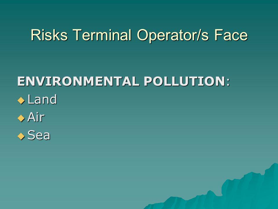 Risks Terminal Operator/s Face ENVIRONMENTAL POLLUTION:  Land  Air  Sea
