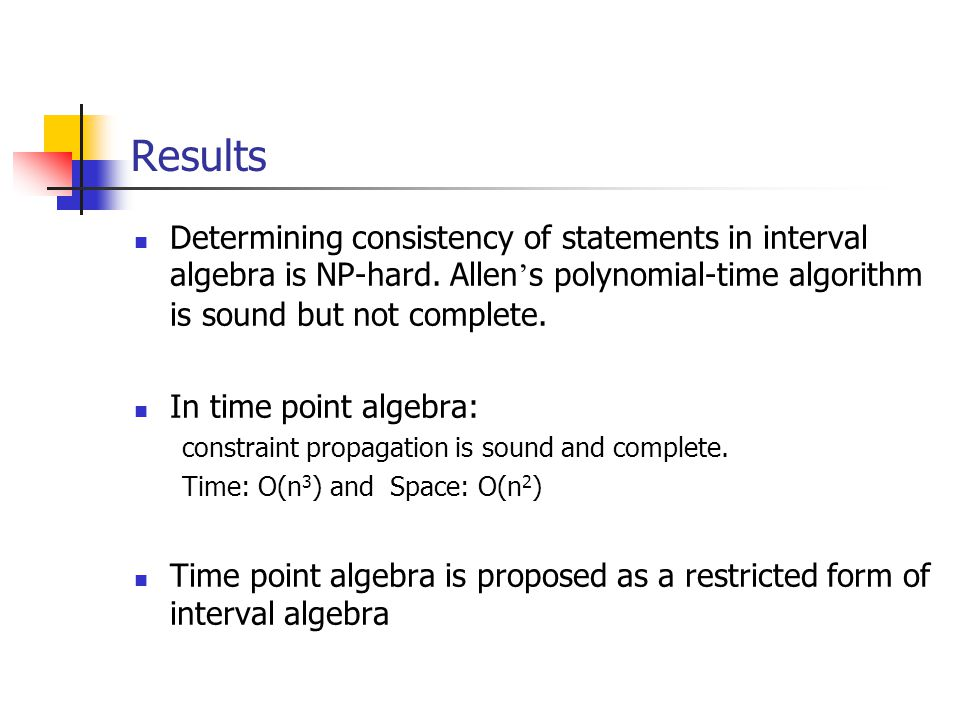 Results Determining consistency of statements in interval algebra is NP-hard.