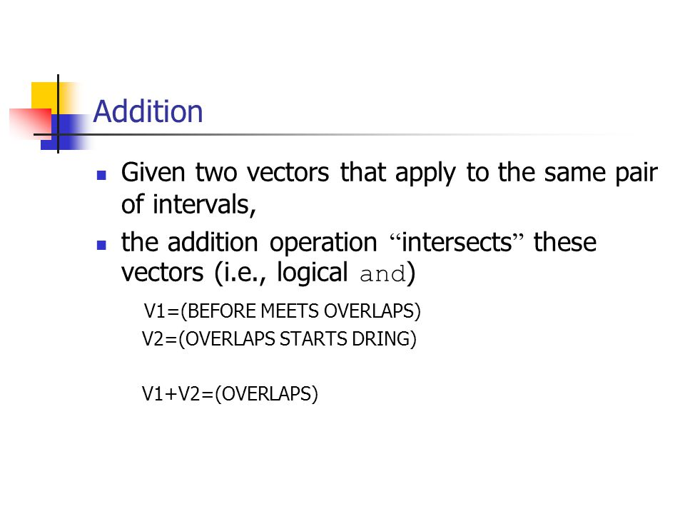 Addition Given two vectors that apply to the same pair of intervals, the addition operation intersects these vectors (i.e., logical and ) V1=(BEFORE MEETS OVERLAPS) V2=(OVERLAPS STARTS DRING) V1+V2=(OVERLAPS)