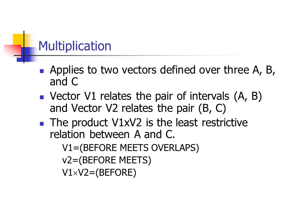 Multiplication Applies to two vectors defined over three A, B, and C Vector V1 relates the pair of intervals (A, B) and Vector V2 relates the pair (B, C) The product V1xV2 is the least restrictive relation between A and C.