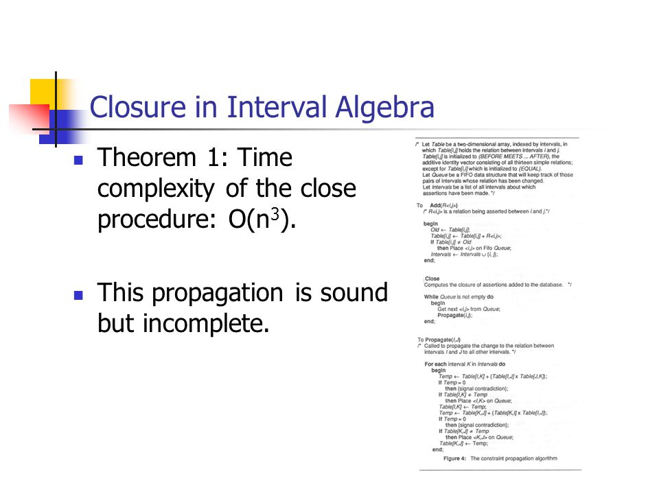 Closure in Interval Algebra Theorem 1: Time complexity of the close procedure: O(n 3 ).
