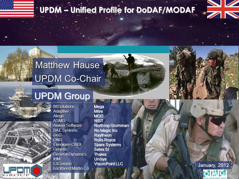 UPDM – Unified Profile for DoDAF and MODAF DoDAF Plenary UPDM Briefing January 2012 – Matthew Hause 12 World-wide Adoption of UPDM United States Great Britain France Sweden Canada Norway NATO Italy Holland Israel Australia India Germany Lithuania Etc.