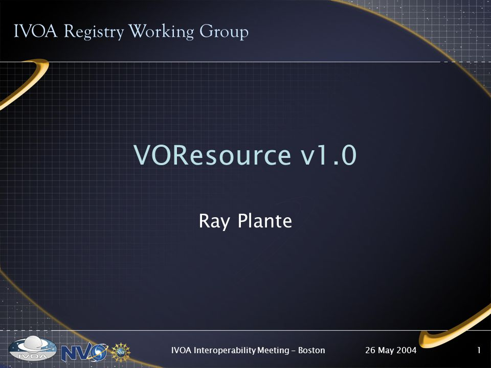 26 May 2004IVOA Interoperability Meeting - Boston1 IVOA Registry Working Group VOResource v1.0 Ray Plante