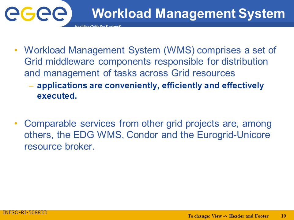 To change: View -> Header and Footer 10 Enabling Grids for E-sciencE INFSO-RI-508833 Workload Management System Workload Management System (WMS) compr