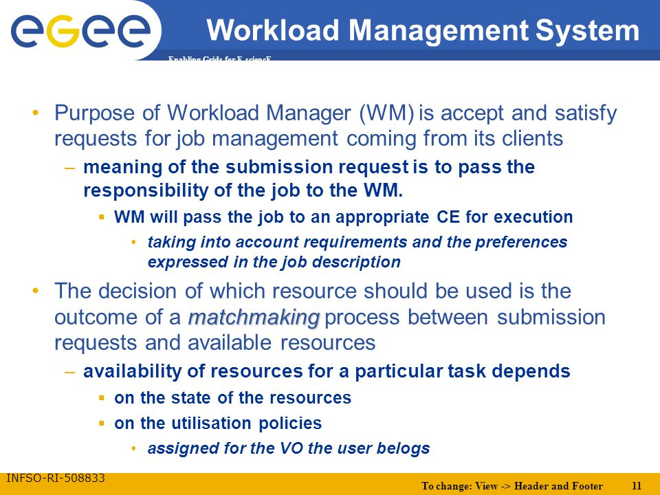 To change: View -> Header and Footer 11 Enabling Grids for E-sciencE INFSO-RI-508833 Workload Management System Purpose of Workload Manager (WM) is accept and satisfy requests for job management coming from its clients –meaning of the submission request is to pass the responsibility of the job to the WM.