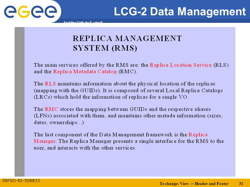 To change: View -> Header and Footer 31 Enabling Grids for E-sciencE INFSO-RI-508833 LCG-2 Data Management.